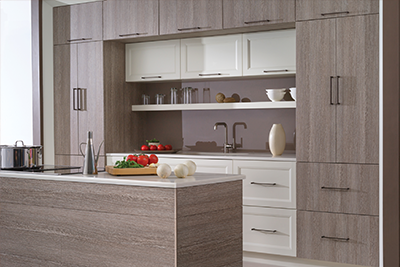 Grey veneer kitchen cabinets by Dura Supreme, available from Lumberjack's Kitchens and Baths, serving Cleveland OH, Akron OH and Canton OH areas.