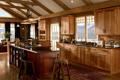 Weathered kitchen cabinets finish from Dura Supreme cabinetry and available at Lumberjack's Kitchen and Baths.