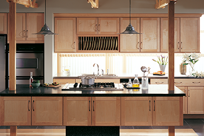 Modern maple kitchen cabinets by Merillat Cabinetry, available at Lumberjack's Kitchens and Baths in Akron OH