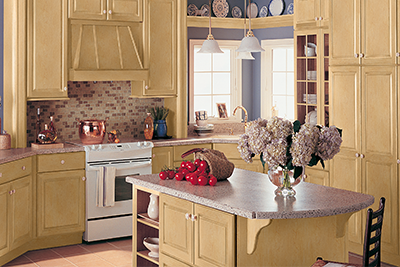 Light yellow new kitchen cabinets by Merillat, available from Lumberjack's Kitchens and Baths, serving Cleveland, Akron and Canton Ohio areas.