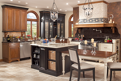 Mixed use of kichen cabinet woods and finishes. Free kitchen designs from Lumberjack's Kitchens and Baths.