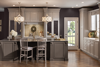 Grey new kitchen cabinets from Merillat cabinetry, available at Lumberjack's Kitchens and Baths, serving Cleveland, Akron and Canton Ohio areas.