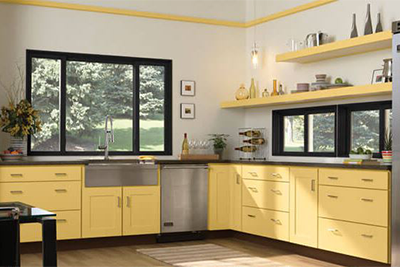 Yellow kitchen cabinets manufactured by Mid Continent cabinetry, available from Lumberjack's Kitchens and Baths, serving Cleveland, Akron and Canton Ohio areas.