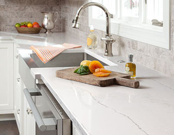 White quartz countertop by Cambria, available at Lumberjack's Kitchens and Baths in Akron