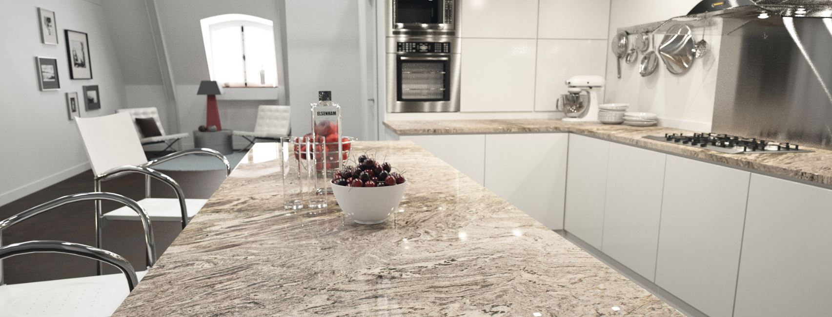 Granite countertop colors, example Waterfall by Sensa Granite Countertops, available at Lumberjack's Kitchens and Baths.