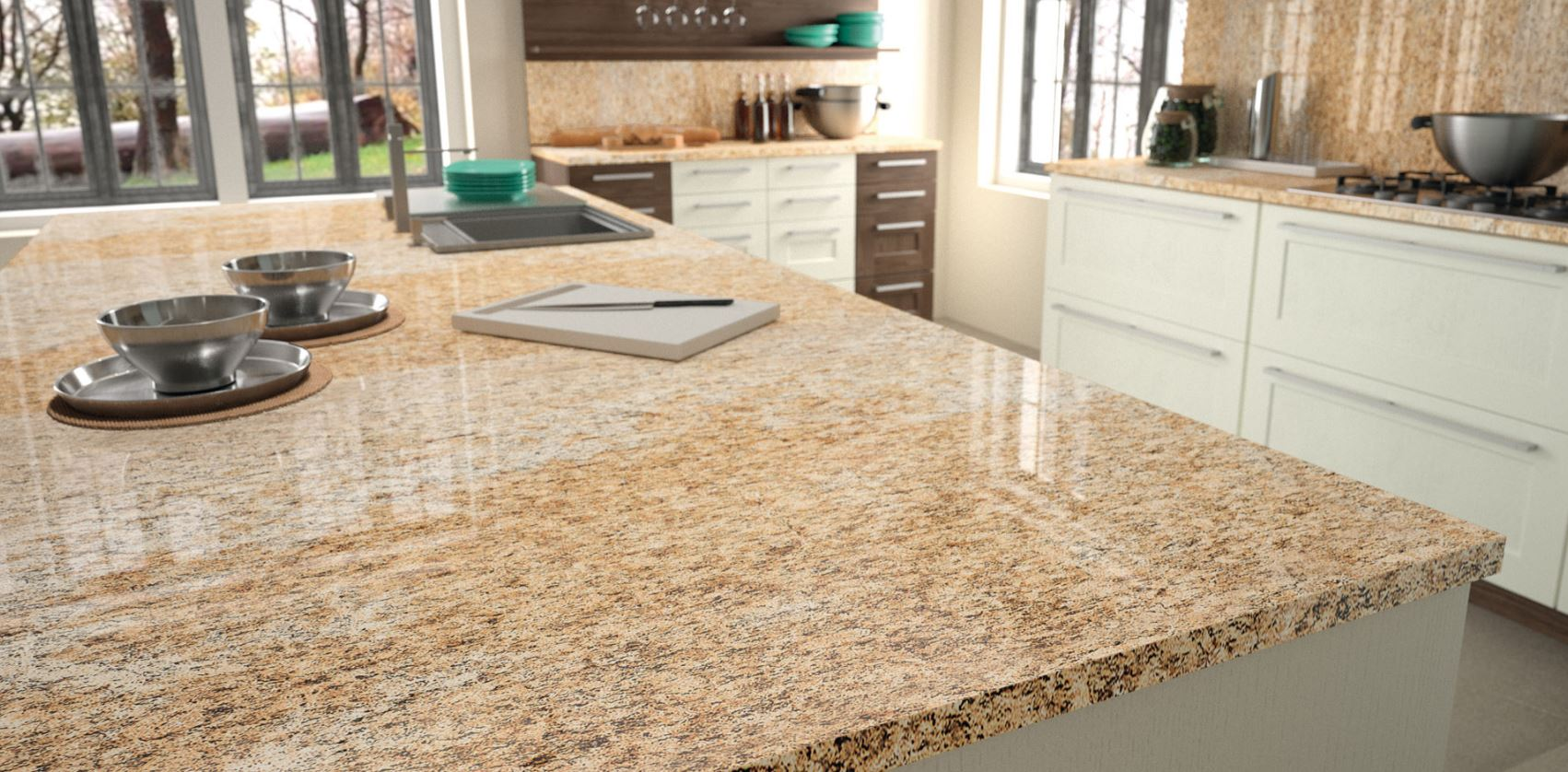 Unique granite slabs. Granite countertops available at Lumberjack's Kitchens and Baths.
