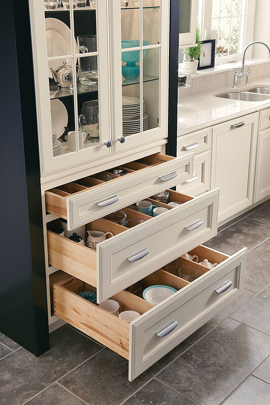 New kitchen cabinet drawers, featuring organizational features from KraftMaid cabinetry, available at Lumberjack's Kitchens and Baths, serving Cleveland, Akron and Canton Ohio areas.
