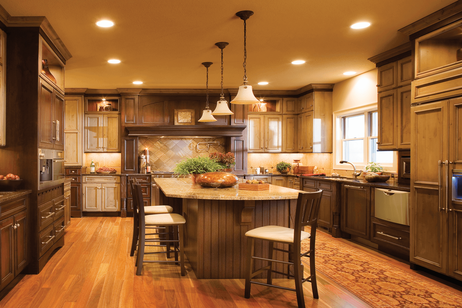 Kitchen cabinet trends, kitchen design using a mix of different wood cabinets, designed by Lumberjack's Kitchens and Baths, serving Cleveland, Akron, Canton and all of the northeast Ohio area.