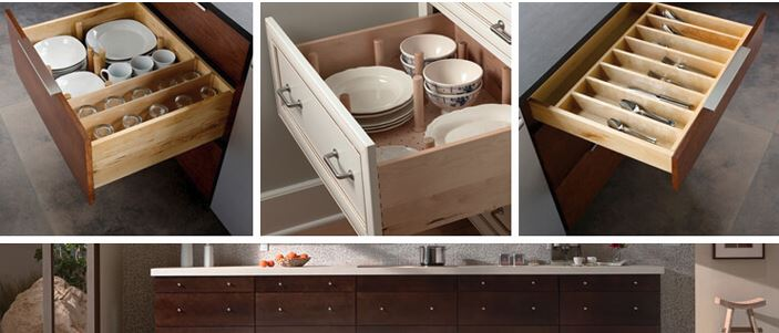 Kichen cabinet drawers options from Mid-Continent cabinets, available at Lumberjack's Kitchen and Baths, serving Cleveland,Akron and Canton OH area.