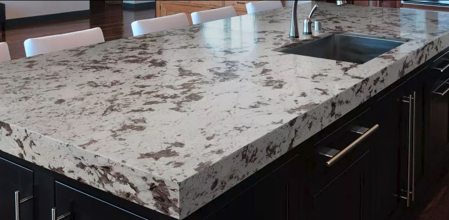 White granite countertop, granite kitchen countertop displays at Lumberjack's Kitchen and Baths.