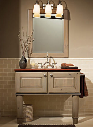Grey bathroom vanities, paints and stains, from Lumberjack's Kitchens and Baths, Cleveland, Akron, Canton OH.