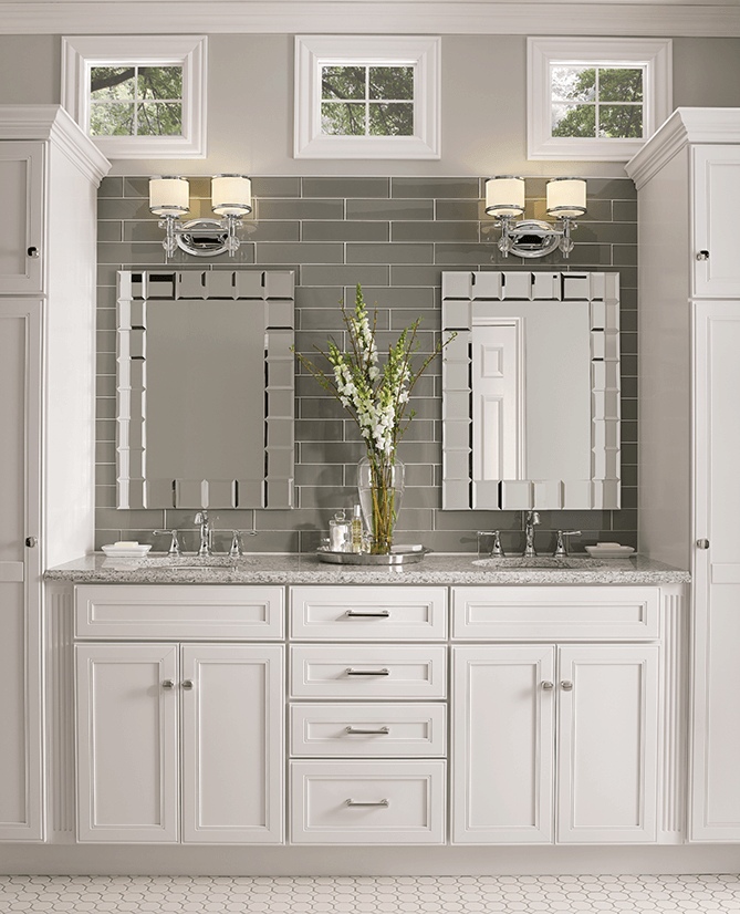 White vanities from Lumerjack's Kitchens & Baths, serving Cleveland, Akron, Canton Ohio areas.