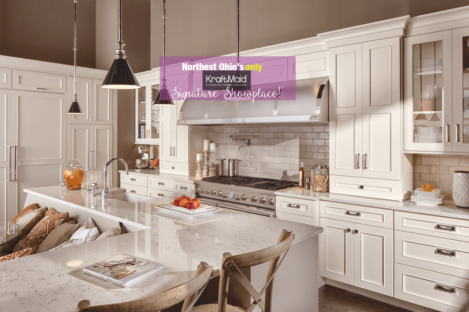 White kitchen cabinets available from Lumberjack's Kitchen and Baths, serving Cleveland, Akron, Canton and all of northeast Ohio in new kitchen design, kitchen updates and kitchen cabinetry.
